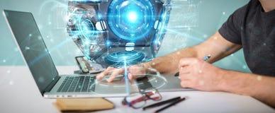 Grafisk formgivare som använder futuristisk rende för surrsäkerhetskamera 3D vektor illustrationer