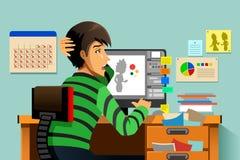Grafisk formgivare som arbetar på hans dator royaltyfri illustrationer