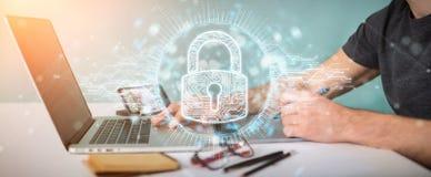 Grafisk formgivare som skyddar hans data med digital säkerhetsholo stock illustrationer