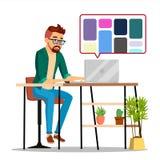 Grafisk formgivare Working Vector Man som söker för referenser på populär idérik webbplats Frilans- begrepp isolerat royaltyfri illustrationer