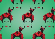 Grafisk framställning av bakgrund för Frida Kahlo ` s, minimalist stående med örhängeskallar, röda blommor och svart katt vektor illustrationer