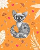 Grafisk härlig katt med höstinsidan royaltyfri illustrationer