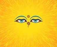 Grafisk illustration av ögon för Buddha` s Arkivbild