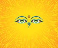 Grafisk illustration av ögon för Buddha` s Arkivfoto