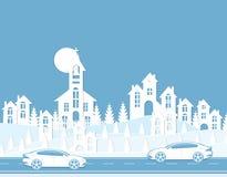 Grafisk illustration av en cityscape Hus bilar, väg Klipp från papper vektor illustrationer