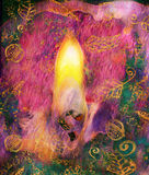 Grafisk illustration av stearinljusflamman och candlewickcloseupen Royaltyfri Bild