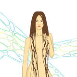 Grafisk illustration med den unga kvinnan Royaltyfria Foton