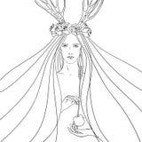 Grafisk illustration med den unga kvinnan Royaltyfri Bild