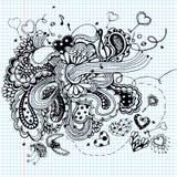 Grafisk illustration med musikanmärkningar Arkivbild