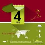 Grafisk information om kalender och väder Royaltyfri Bild