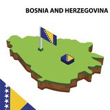 Grafisk isometrisk översikt för information och flagga av BOSNIEN OCH HERCEGOVINA isometrisk illustration f?r vektor 3d stock illustrationer