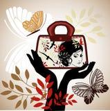 Grafisk kvinnas påse för framsidasömnader stock illustrationer