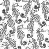 Grafisk lövrik Seadragon sömlös modell royaltyfri illustrationer