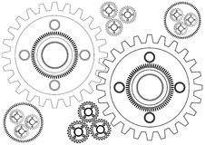 Grafisk linjär illustration för cirkel för hjul för modellteknikkugghjul Vektor Illustrationer