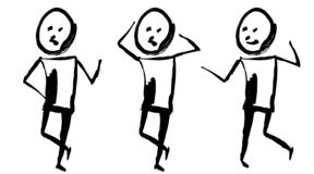 Grafisk målad man för tofs tre Sinnesrörelse: omtänksamhet, skräck och gyckel bakgrund isolerad white stock illustrationer