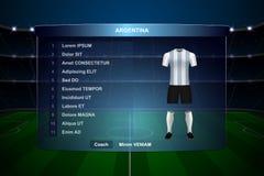 Grafisk mall för fotbollfunktionskortTV-sändning vektor illustrationer