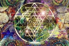 Grafisk mandala för abstrakt färgrik sakral geometri arkivfoton