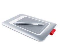 Grafisk minnestavla med Pen On White Background Fotografering för Bildbyråer
