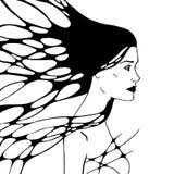 Grafisk monokrom illustration med kvinnan Arkivfoto