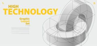 Grafisk orienteringsuppsättning med abstrakt begrepp buktad vektorform som är som påminner om av teknologisk utveckling Fotografering för Bildbyråer