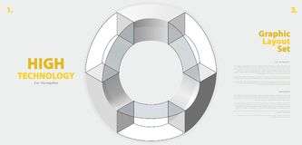 Grafisk orienteringsuppsättning med abstrakt begrepp buktad vektorform som är som påminner om av teknologisk utveckling Royaltyfri Bild