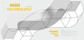 Grafisk orienteringsuppsättning med abstrakt begrepp buktad vektorform som är som påminner om av teknologisk utveckling Royaltyfri Foto