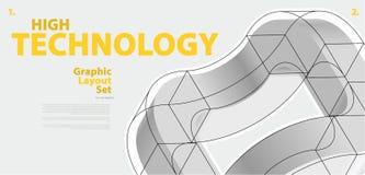 Grafisk orienteringsuppsättning med abstrakt begrepp buktad vektorform som är som påminner om av teknologisk utveckling Arkivfoton