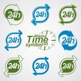 Grafisk rengöringsdukvektor 24 timmar tidmätare, dygnetrunt- pictograms Royaltyfria Foton