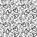 Grafisk sömlös modell med romantiska beståndsdelar för körsbär och för hjärta på vit bakgrund stock illustrationer