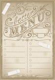 Grafisk sida för tappning för restaurang stock illustrationer