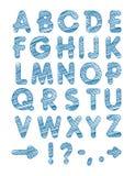 Grafisk stilsort Den handgjorda Sans Serif stilsorten, gör linjer tunnare Hand dragit kalligrafibokstäveralfabet också vektor för Arkivbilder