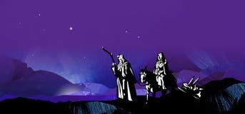 Grafisk stjärnklar resa för julnatt till Betlehem med mountai Arkivfoto
