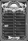 Grafisk svart tavla för tappning för feg meny Arkivbild