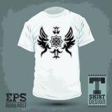 Grafisk T-tröjadesign - abstrakt lyxig heraldisk design Royaltyfri Foto