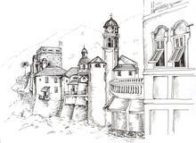Grafisk teckning Camogli för bläckpenna royaltyfria foton