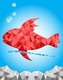 Grafisk textur för röd fisk i de undervattens- blåtten Arkivfoto