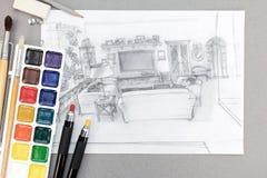 Grafisk vardagsrum skissar med vattenfärgmålarfärger, borstar och ritar Arkivfoto