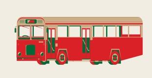 Grafisk vektor av en tappningsingel-däckare buss royaltyfri illustrationer