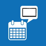 Grafiska apps för massmedia för datum för molnapparatkalender Arkivfoto