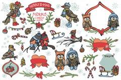 Grafiska beståndsdelar för jul, gulliga tecknad filmfåglar Arkivfoton