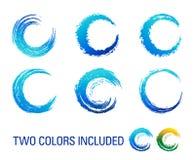 Grafiska borstevirvlar blått och gräsplan Arkivfoton