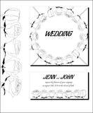 Grafiska svartvita bröllopinbjudningar royaltyfri foto