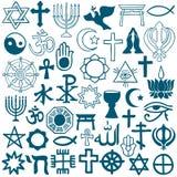 Grafiska symboler av olika religioner på vit Arkivfoto