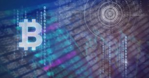 grafiska symboler för bitcoin och ekonomiska diagram för finansmarknad stock illustrationer