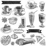 Grafiska teckningar för kafé med kaffe och sötsaker vektor illustrationer