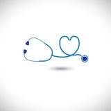 Grafiskt av det medicinska stetoskopet för diagnostiskt hjälpmedel stock illustrationer