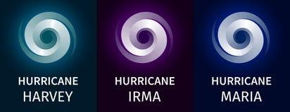 Grafiskt baner av orkaner Harvey, Irma, Maria royaltyfri illustrationer