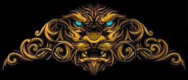 Grafiskt dekorativt lejonhuvud med utsmyckat stock illustrationer