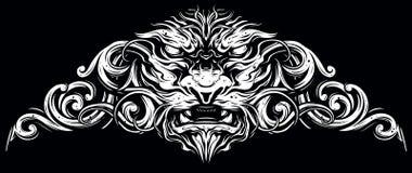 Grafiskt dekorativt lejonhuvud med utsmyckat vektor illustrationer