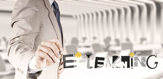 Grafiskt handdrawn E-LÄRANDE ord för design Royaltyfria Bilder